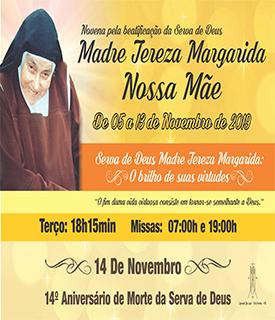 Cartaz da Novena pela Beatificação da serva de Deus, Nossa Mãe
