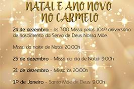 Programação de Natal e Ano Novo no Carmelo