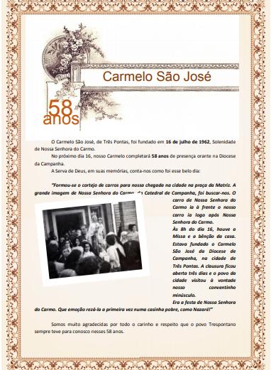 58 anos do Carmelo São José